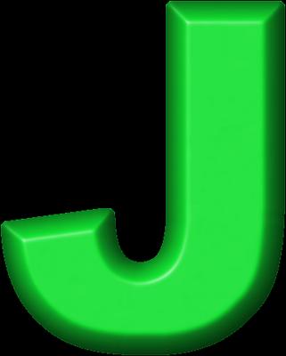 Presentation Alphabets: Green Refrigerator Magnet J