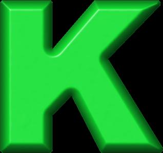 K Alphabet Letter Presentation Alphabets: Green Refrigerator Magnet K