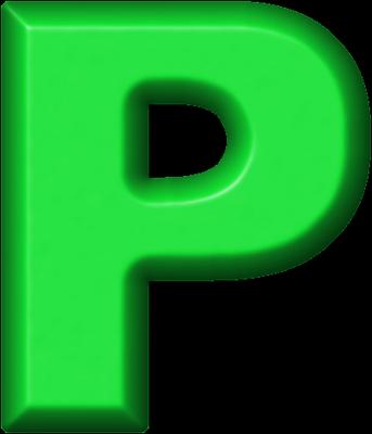 P Alphabet Letter Presentation Alphabets: Green Refrigerator Magnet P