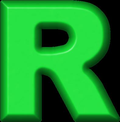Presentation Alphabets: Green Refrigerator Magnet R