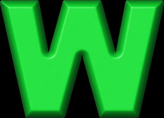 Presentation Alphabets: Green Refrigerator Magnet W