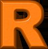 Presentation Alphabet Set  Orange Refrigerator Magnet RThe Letter R In Orange