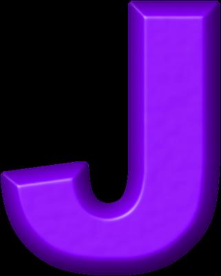 Presentation Alphabets: Purple Refrigerator Magnet J