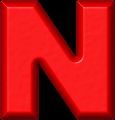 Presentation Alphabet Set: Red Refrigerator Magnet N