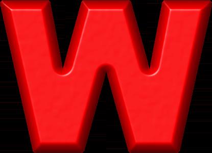 Presentation Alphabets: Red Refrigerator Magnet W