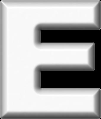 Presentation Alphabets: White Refrigerator Magnet E