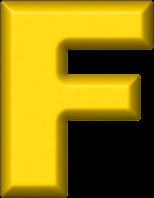 Presentation Alphabets: Yellow Refrigerator Magnet F