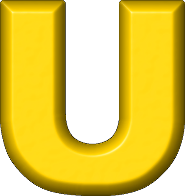 Presentation Alphabets Yellow Refrigerator Magnet U