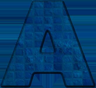 Presentation Alphabets: Blue Tile Letter A