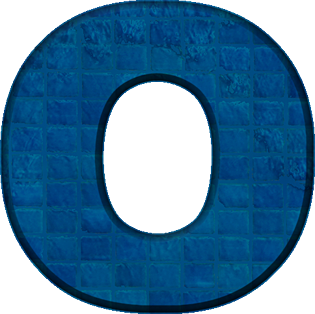 Presentation Alphabets Blue Tile Letter O