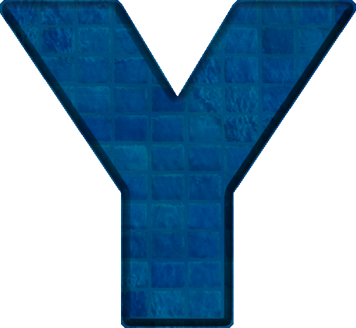 Presentation Alphabets: Blue Tile Letter Y