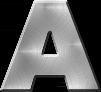 Presentation Alphabets Brushed Metal Letter A