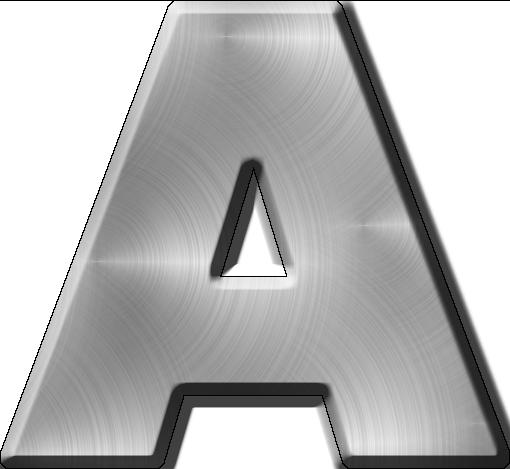 Metal Letter I Presentation Alphabets Brushed Metal Letter A