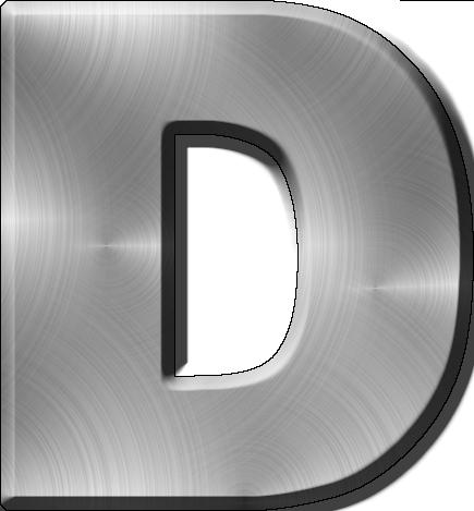 Presentation Alphabets Brushed Metal Letter D
