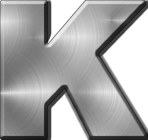 K Alphabet Letter Presentation Alphabets: Brushed Metal Letter K