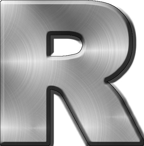 Metal Letter I Presentation Alphabets Brushed Metal Letter R