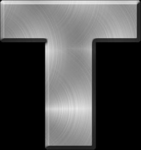 Presentation Alphabets Brushed Metal Letter T