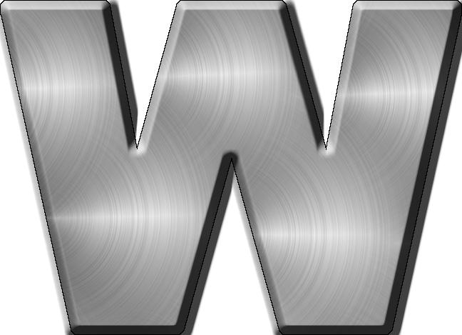 Metal Letter I Presentation Alphabets Brushed Metal Letter W