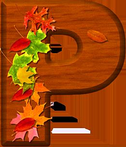 Presentation Alphabets Cherry Wood Leaves Letter P
