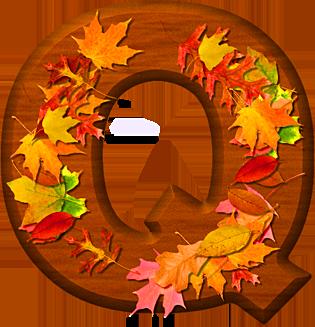 presentation alphabets cherry wood leaves letter q