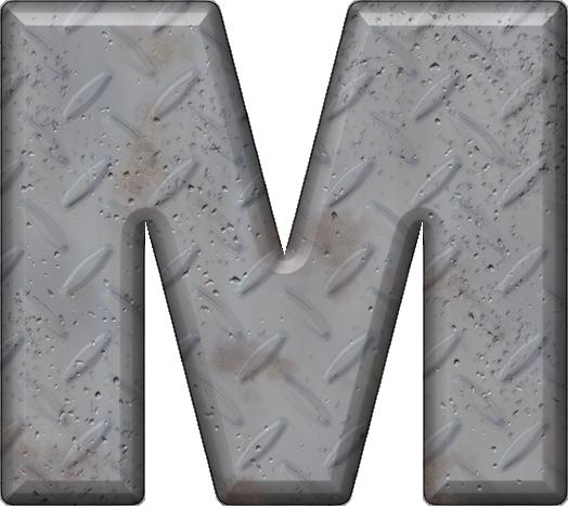 Presentation Alphabets: Diamond Plate Letter M