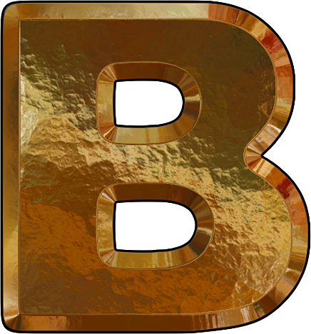 B Letter In Gold Presentation Alphabets...