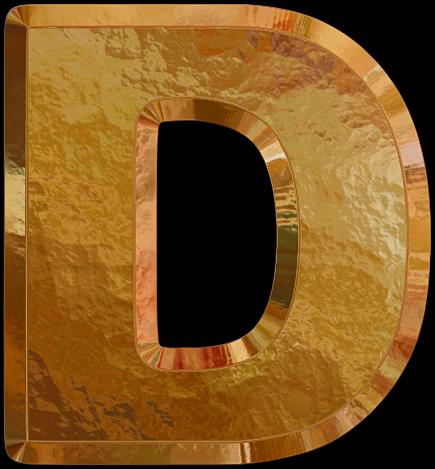 Presentation Alphabets: Gold Leaf Letter D