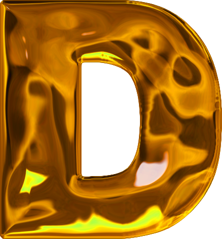 Presentation Alphabets: Lumpy Gold Letter D