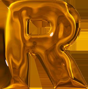 R Alphabet Letter Presentation Alphabets: Lumpy Gold Letter R