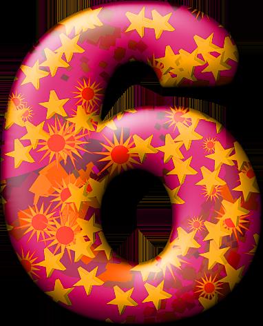 Presentation Alphabets: Party Balloon Warm Numeral 6