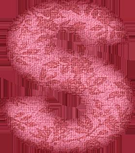 Presentation Alphabets Pink Flower Fabric Letter S