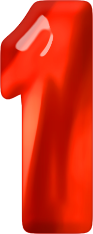 Presentation Alphabets: Red Glass Numeral 1