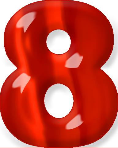 Presentation Alphabet Set: Red Glass Numeral 8