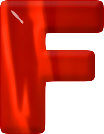 Presentation Alphabets Red Glass Letter F