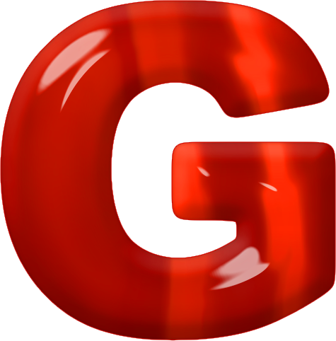 Presentation Alphabets: Red Glass Letter G
