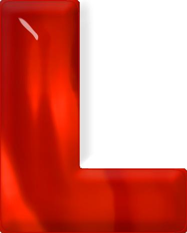 L Alphabet Letter Presentation Alphabets: Red Glass Letter L