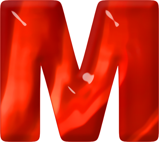 ETC Presentations Home Alphabets Themed Letters Red Glass Letter M