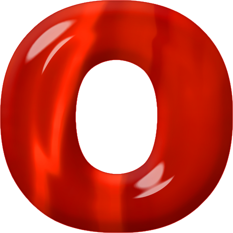 presentation alphabets red glass letter o