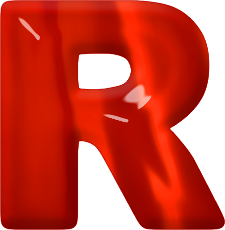 presentation alphabet set red glass letter r