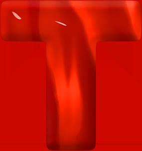 Presentation Alphabets: Red Glass Letter T