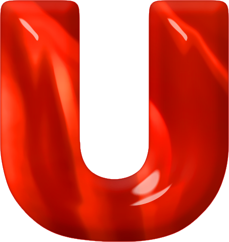 U Alphabet Letter Presentation Alphabets: Red Glass Letter U