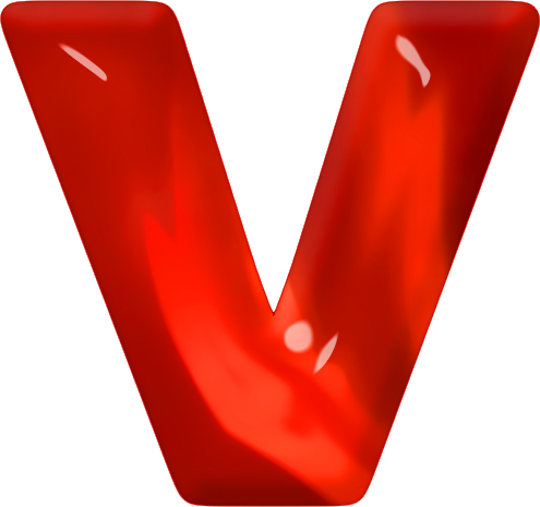 V Alphabet Letter Presentation Alphabets: Red Glass Letter V