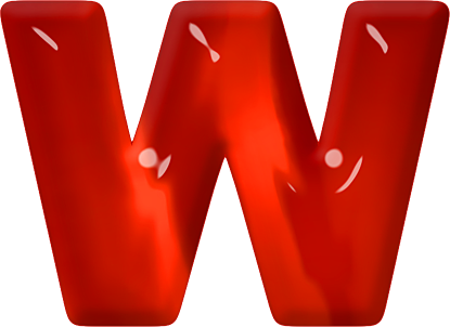 W Alphabet Letter Presentation Alphabets: Red Glass Letter W