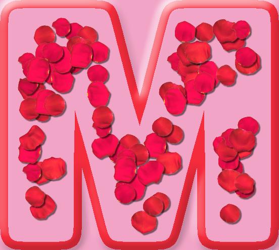 Presentation Alphabets: Rose Petals Letter M