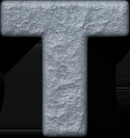 Presentation Alphabets: Rough Metal Letter T