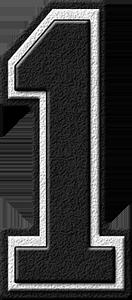 Presentation Alphabets: Black Varsity Numeral 1