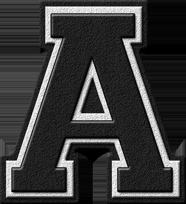 Presentation Alphabets Black Varsity Letter A