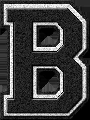 Presentation Alphabets Black Varsity Letter B