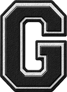 Presentation Alphabets Black Varsity Letter G
