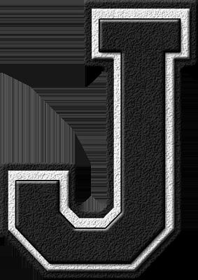Presentation Alphabet Set: Black Varsity Letter J